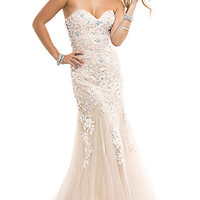 Long Strapless Dress with Lace up Back
