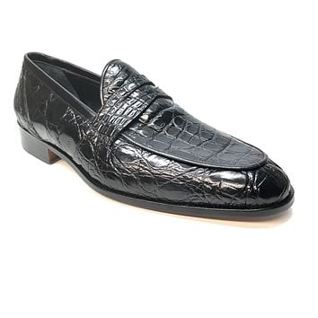 Mauri 4862 Black Alligator Body Penny Loafers