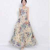 Women Fashion Clothing Summer Sleeveless Butterfly Floral Print Chiffon Maxi Long Slim Beach Dress Party Evening Cocktail Dress = 5738843329