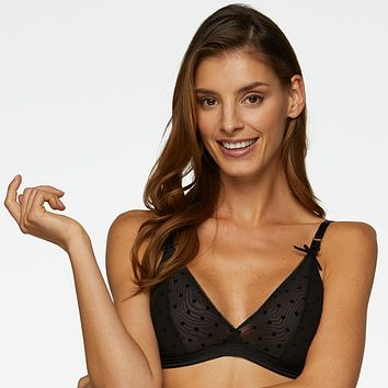 Sheer Mesh Wireless Triangle Bralette Kinga Flirty
