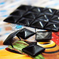 100 PCS X 9mm / 12mm Black Square Pyramid Spike Rivets Studs Metal Matte Finish Diy cell iPhone Case Leather Deco Craft Punk Rock (SD.B)