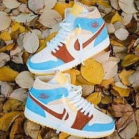 Nike Air JORDAN 1 Leisure Sports  Sneakers Macaron series Basketball shoes blue yellow