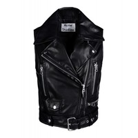Acne Studios Selby Sleeveless Leather Moto Jacket - Black Leather Vest - ShopBAZAAR