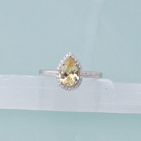 Pear Shape Champagne Yellow Sapphire 14k White Gold Diamond Halo Engagement Ring Weddings Anniversary