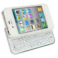 White Bluetooth Keyboard+Hardshell Case for iPhone 4/4s
