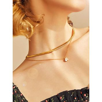 1pc Heart Crystal Charm Snake Bone Layered Necklace