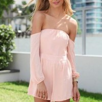 Chiffon Peach Off the Shoulder Playsuit with Cinched Waist