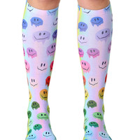 Melting Smiley Knee High Socks