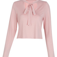 Pink Cut Out Tie Front Long Sleeve Cropped T-shirt