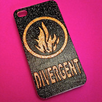 HANDMADE Glitter Divergent iPhone 4  4s Dauntless Phone Case Samsung 5c 5s HTC Galaxy Faction Symbols Android Abnegation Amity Fire Logo The