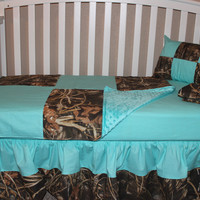 Large Patchwork Camo 5 Piece Crib Bedding Set