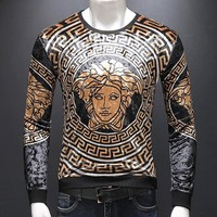 Versace Fashion New Human Head Print Long Sleeve Sweater Men