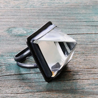 Quartz Crystal Pyramid Ring - Oxidized Sterling Silver - Your size