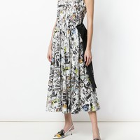 Prada Fashion Doodle Print Cotton Poplin Dress