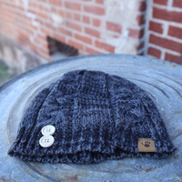 BearPaw Cable Knit Hat with Buttons {Black/Grey}