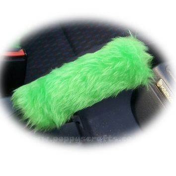 Fuzzy faux fur Lime Green Handbrake cover cute