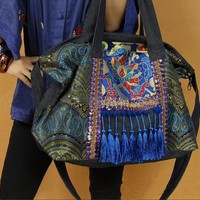 Highly Embellished Original Ethnic Canvas and Satin Embroidered Tote Bag