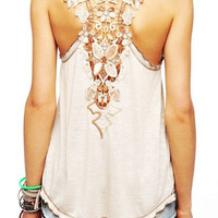 Floral Lace Backless Tank Top
