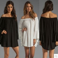Off-Shoulder Chiffon Dress