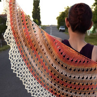 Cotton shawl in earth tones, orange, brown and cream soft summer scarf, womens scarf, lace shawl, shouldercover, crescent shape