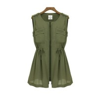 ZLYC Sleeveless Dress with Zip Front