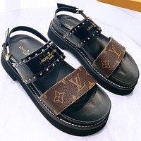 Louis Vuitton LV Sandals Platform gold studded convex rubber outer sole Slippers Black Coffee