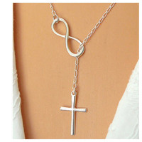 Beautiful Delicate and Dainty Infinity Cross Drop Necklace