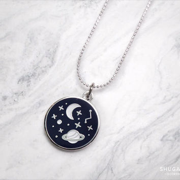 Glow in the Dark Galaxy necklace in silver! NEW!