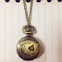 Vintage Playing Poker Cards Shape Necklace Quartz Pocket Watch Chain Pendant Necklace Xmas Gift SM6