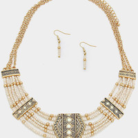 Gold Ivory Tribal Chevron Beaded Collar Necklace