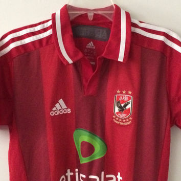 Sale!! EUC Adidas Al Ahly Home 2012/2014 Soccer Jersey Egypt Football Shirt Size Boys Large 13-14Y Free shipping within the USA