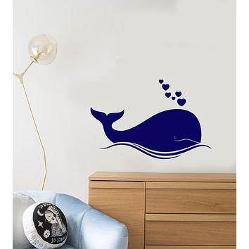 Vinyl Wall Decal Cartoon Sea Whale Hearts Baby Room Decor Stickers (3730ig)