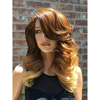 Brunette Ombré  Human Hair Blend Multi Parting Lace Front Wig - Reba