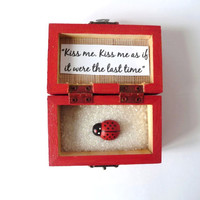 Wood Box, Kiss Me As if It Were the Last Time , Custom Gift, Handpainted Trunk, Treasure Chest, Wedding Favor, Personalized