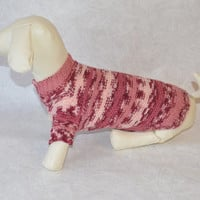 rEADY TO SHIP Dog Clothes dachshund Sweater Warm Hand Knitting PINK striped