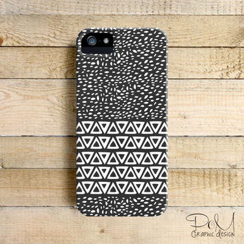 Minimal Aztec Wind Leaves Black Art Phone Case for iPhone 4, 4s, 5, 5s, 5c and Samsung Galaxy S3 & S4