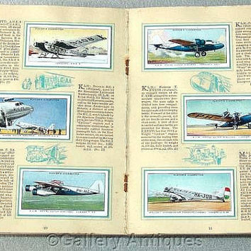 International Air Liners Full Set of 50 Cigarette Cards in Original Album by John Player & Sons Issued in 1936 (ref: 3190)