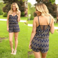 Zoom Through Life Chevron Romper