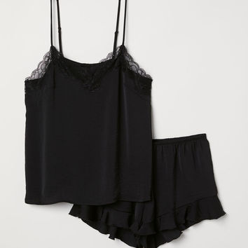 Pyjama top and shorts - Black - Ladies | H&M GB