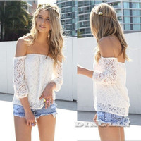 Sexy Off The Shoulder Long Sleeve Lace Crop Top