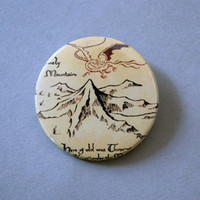 """The Hobbit - The Lonely Mountain 1x1.5"""" pinback button badge from Stickerama"""
