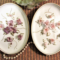 Lefton Oval Wall Plaques 3D Raised Floral Porcelain Ceramic Set of 2 Vintage blm