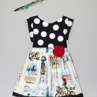 Black Pinafore Dress & Boho Headband - Toddler & Girls | zulily