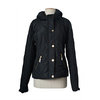 Slim Down Hooded Full Zip Up & Buttoned Puffer Padded Jacket