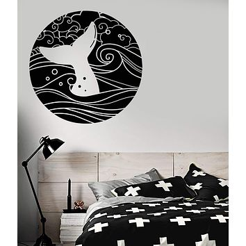 Vinyl Wall Decal Moon Sea Waves Whale Fish Tail Nautical Stickers (2983ig)
