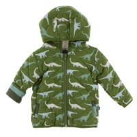 Kickee Pants Paleontology Collection Print Quilted Jacket with Sherpa Lined Hood