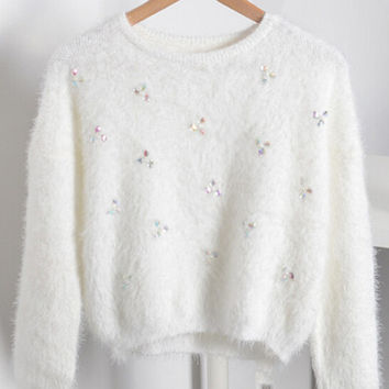 White Beaded Cuff Sleeve Mohair Cropped Sweater