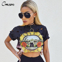 Sexy Hole Women T-Shirt 2016 New GUNS N ROSES Print Crop Top T Shirt Cropped Tops Hollow Out Short Sleeve Tee Shirt Femme QA1223
