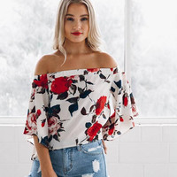 New summer sexy Women printing flowers off shoulder T-shirt  -0522
