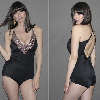 Vintage 70s Black One Piece Bathing Suit / CRISS CROSS BACK, Plunging Bust, V Neck / Geometric Print / Pinup Bottom / Medium